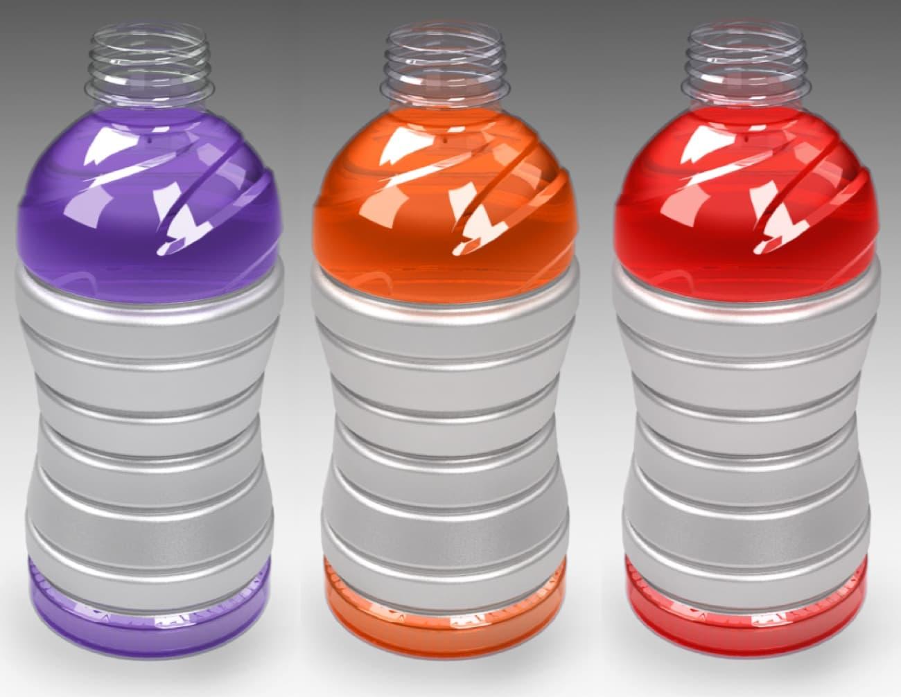 Concept art of three gatorade bottles