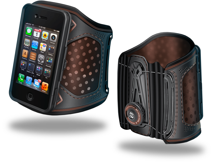 images of wearable arm sleeve that holds a mobile device